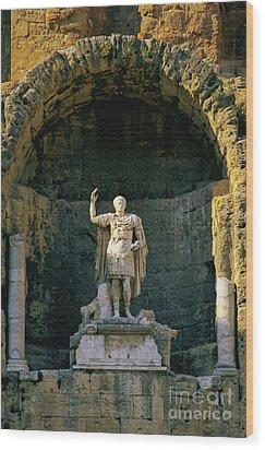 Statue De L'empereur Auguste Dans Le Theatre D'orange. Wood Print by Bernard Jaubert