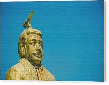 Statue Of Chinese Ancient Official Wood Print by Pan Hong