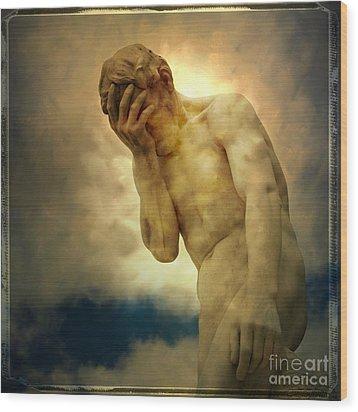 Statue Of Human Covering Face Wood Print by Bernard Jaubert