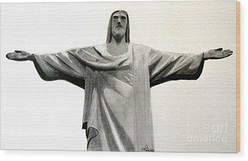 Statue Of Jesus In Rio Wood Print by Claudiu Radulescu