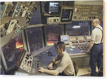 Steel Production Control Room Wood Print by Ria Novosti