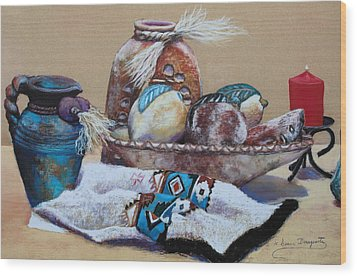 Still Life Wood Print by M Diane Bonaparte