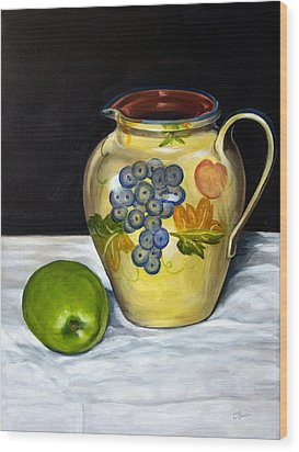 Still Life With Apple And Pitcher Wood Print by John OBrien