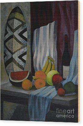 Still Life With Fruit Wood Print by Jukka Nopsanen