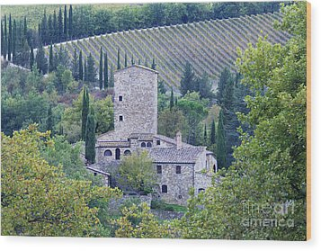 Stone Farmhouse Near Montefioralle Wood Print by Jeremy Woodhouse