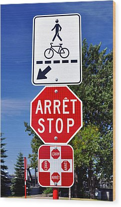 Stop And Crossing Signs. Wood Print by Fernando Barozza
