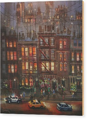 Street Life Wood Print by Tom Shropshire