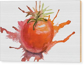 Stylized Illustration Of Tomato Wood Print by Regina Jershova