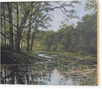 Summer Creek Reflections Wood Print by James Guentner