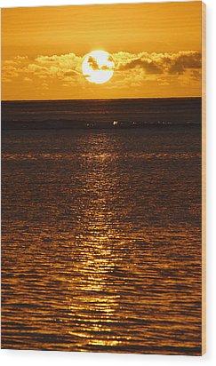 Sun Over Horizon Wood Print by Steeve Dubois