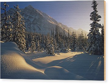 Sun Setting Behind Trees And Mountain Wood Print by Mike Grandmailson
