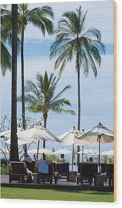 Sunbath Near The Pool Wood Print by Atiketta Sangasaeng