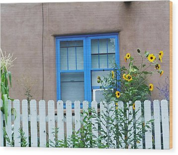 Sunflower Window  Wood Print by Vicki Lomay