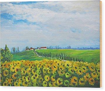 Sunflowers In Chianti Wood Print by Heidi Patricio-Nadon