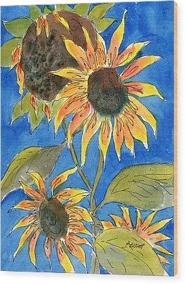 Sunflowers Wood Print by Marsha Elliott