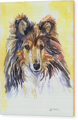 Sunny Sheltie Wood Print by Lyn Cook