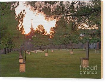 Sunrise At The Alfred P Murrah Memorial II Wood Print by Tamyra Ayles
