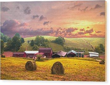 Sunrise Pastures Wood Print by Debra and Dave Vanderlaan