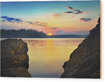 Sunset Between The Rocky Shore Wood Print by Steven Llorca