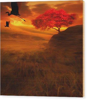 Sunset Duet Wood Print by Lourry Legarde