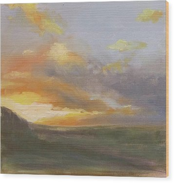 Sunset Over The Valley Wood Print by Podi Lawrence