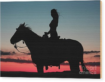 Sunset Ride Wood Print by Val Armstrong