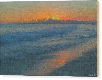 Sunset Surfers Wood Print by Heidi Smith