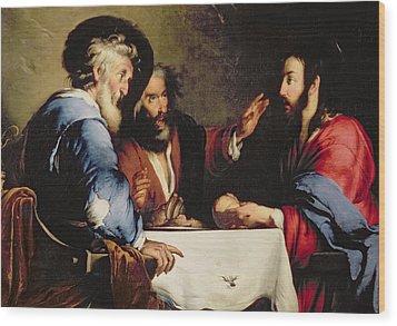 Supper At Emmaus Wood Print by Bernardo Strozzi