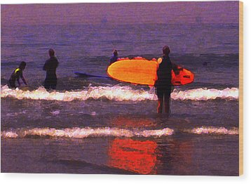 Surf Lessons Wood Print by Ron Regalado