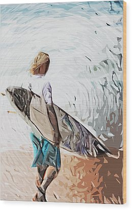 Surfer Wood Print by Tilly Williams