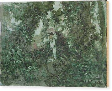Surprised Bather Wood Print by Elizabeth Carr