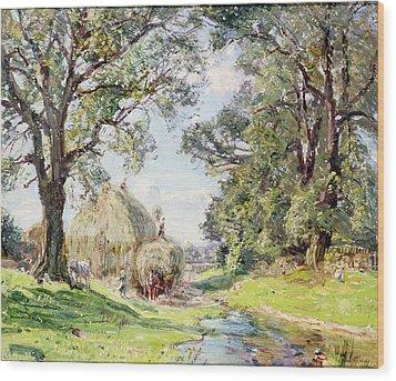 Surrey Landscape  Wood Print by Edmund George Warren