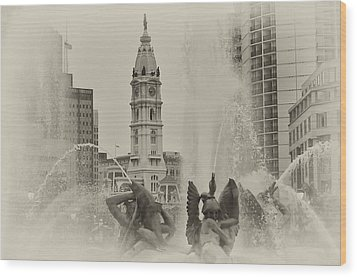 Swann Memorial Fountain In Sepia Wood Print by Bill Cannon