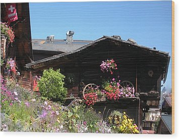 Swiss Chalet Interlaken Wood Print by Marilyn Dunlap