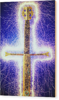 Sword With Sparks Wood Print by Garry Gay