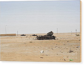 T-55 Tanks Destroyed By Nato Forces Wood Print by Andrew Chittock