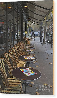 Tables Outside A Paris Bistro On An Autumn Day Wood Print by Louise Heusinkveld