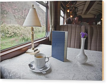 Tea Is Served By Peru Rail On The Way Wood Print by Michael &Amp Jennifer Lewis
