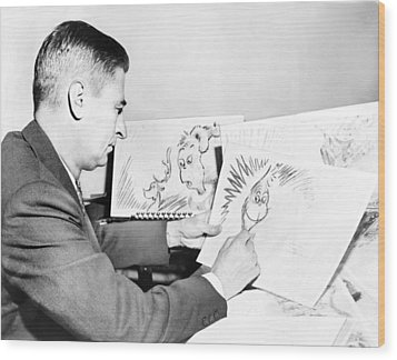 Ted Geisel Dr. Seuss 1904-1991 At Work Wood Print by Everett