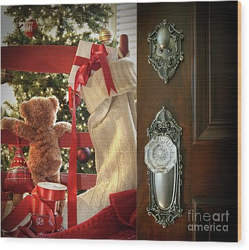 Teddy Waiting For Christmas Time Wood Print by Sandra Cunningham