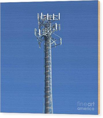 Telecommunications Tower Wood Print by Eddy Joaquim
