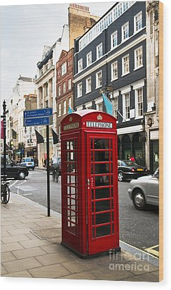 Telephone Box In London Wood Print by Elena Elisseeva