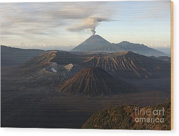 Tengger Caldera With Erupting Mount Wood Print by Martin Rietze