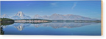 Teton Reflections Wood Print by Greg Norrell