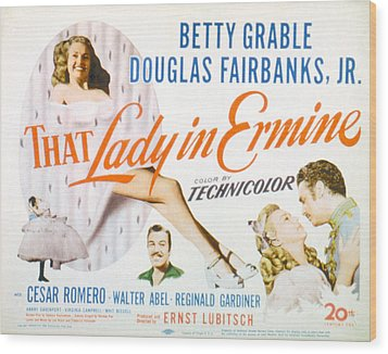 That Lady In Ermine, Betty Grable Wood Print by Everett