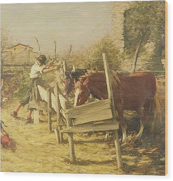 The Appian Way Wood Print by Henry Herbert La Thangue