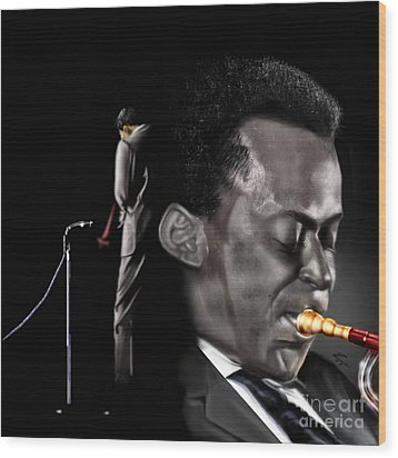 The Back And The Affront Of Miles Davis Wood Print by Reggie Duffie