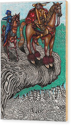 The Beast And Nahamanides In Shitaki Forest Wood Print by Al Goldfarb