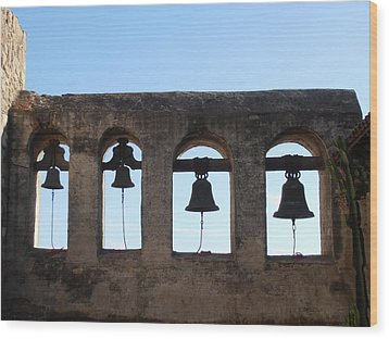 The Bells At The San Juan Capistrano Mission Wood Print by Pat Cannon