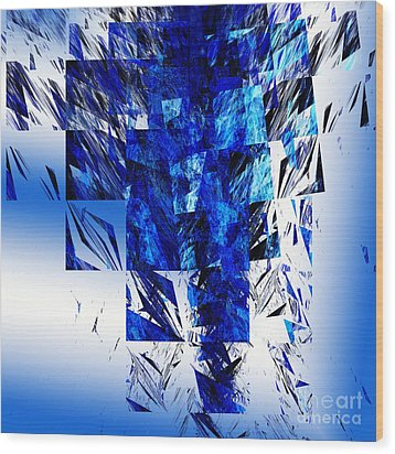 The Blue Chandelier Wood Print by Andee Design